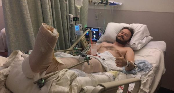 The author in the hospital