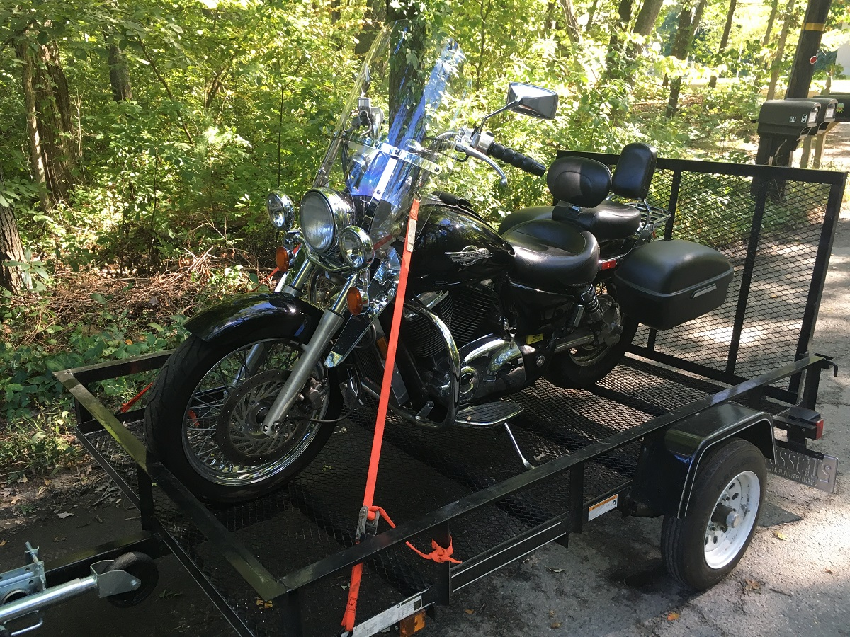1995 Honda Shadow ACE 1100 on my trailer